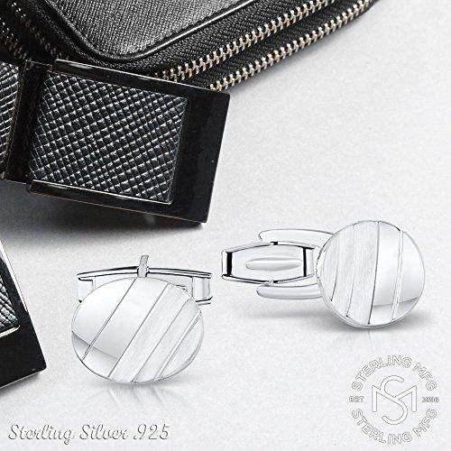 Men's Sterling Silver .925 Oval Striped Design Cufflinks with Satin Finish. Made In Italy. By Sterling Manufacturers by Sterling Manufacturers (Image #5)