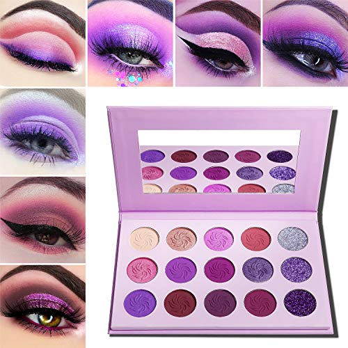 Makeup Palettes Eyeshadow Matte and Glitter,Afflano Professional Most Pigmented 15 Color,Dark Purple Pink Brown Silver Violet Cute Wedding Shimmer Holographic Eyeshadow Pallet Cosmetic for Girls Women (Best Eyeshadow Palette For Brown Eyes 2019)