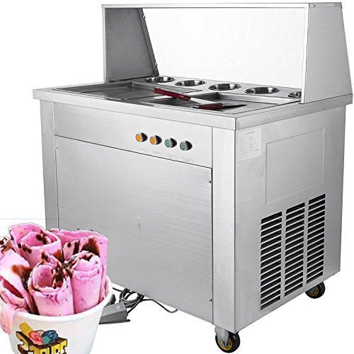 (Forkwin Commercial Roll Maker 1060W Fried Ice Cream Machine Stainless Steel Square Pans with 5 Buckets13.8''/35CM for Restaurant Snack)