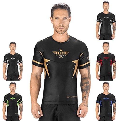 - Elite Sports New Item Star Short Sleeve Compression, MMA, BJJ, No-Gi, Cross Training Rash Guard (Gold, Large)