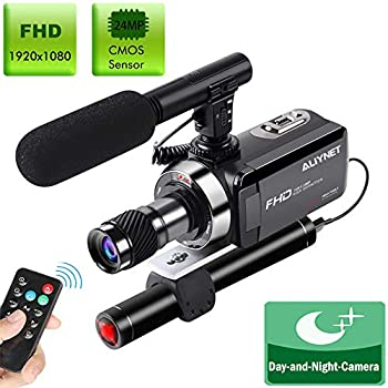 Image of Camcorders Aliynet Video Camera Special for Night Vision hd Camcorder Hunting,Night Vision Camcorder with Monocular Telescope,External Powerful Infrared Spotlight,External Microphone,Remote Control,32GB Card