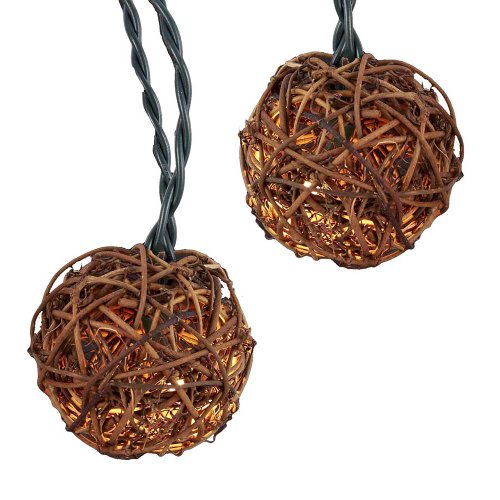 Kurt Adler UL 10-Light Rattan Ball Light Set, 2.35-Inch (String 10 Rattan Set Ball Lights)