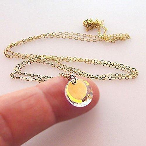 Amazon gold hologram necklace personalized initial pendant gold hologram necklace personalized initial pendant faceted swarovski crystal necklace aloadofball Choice Image