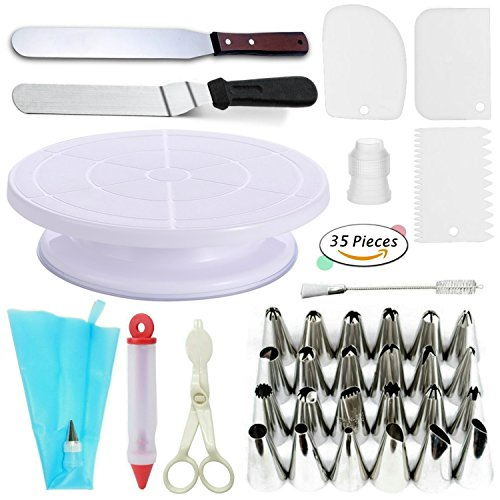 Cake Decorating Supplies VIPorama 35 Cake Turntable Stand,2 Icing & Angled Spatula,24 Stainless Steel Tips,1 Pastry Bag,1 Cake Tip Brush,1 Cake Flower Lifter,1 Cake Pen,3 Cake Scrapers 1 Coupler