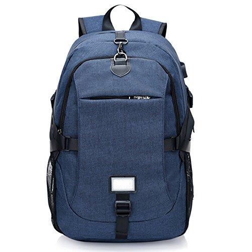 Nclon Portátiles laptop Mochila Backpack Carga del usb,Negocio Hombres Mujer Anti-robo Viajes Mochila para portátiles Multifunción 16 Inch Gran capacidad Ocio Bolsa escuela Ligero Slim-negro Azul