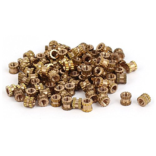Uxcell a16041800ux0765 M2 x 3mm Brass Cylinder Knurled Threaded Round Insert Embedded Nuts
