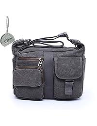 Micom Vintage Multi Pocket Canvas Messenger Cross Body Bag for Women,men