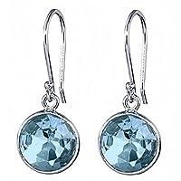 6.50 Ct Blue Topaz 9mm Round 925 Silver Dangle Earrings