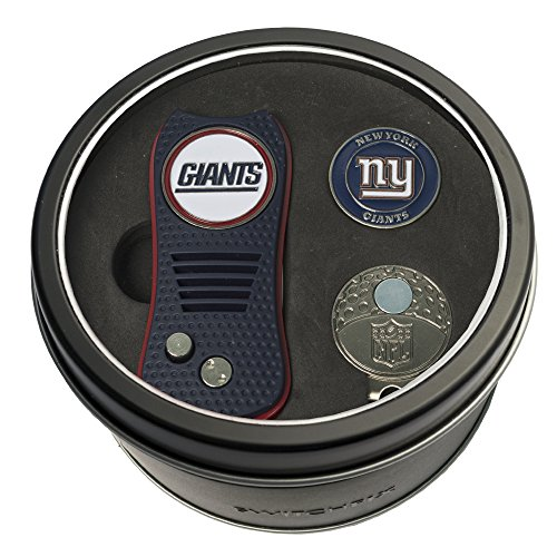 Team Golf NFL New York Giants Gift Set Switchblade Divot Tool, Cap Clip, & 2 Double-Sided Enamel Ball Markers, Patented Design, Less Damage to Greens, Switchblade Mechanism ()