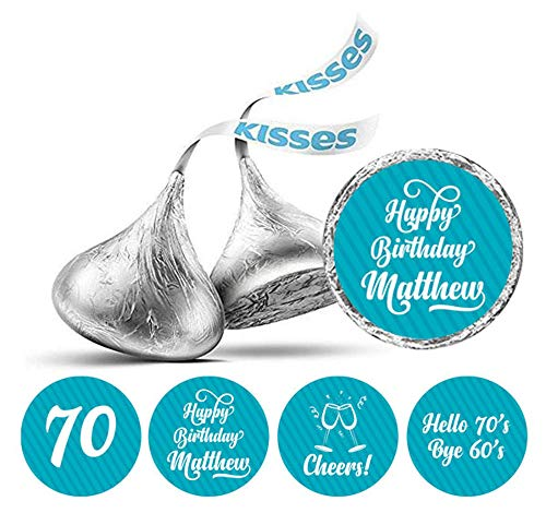 Darling Souvenir Cheers 70th Birthday Custom Name Stickers 190 Pcs Candy Labels Party Favor-Turquoise Blue