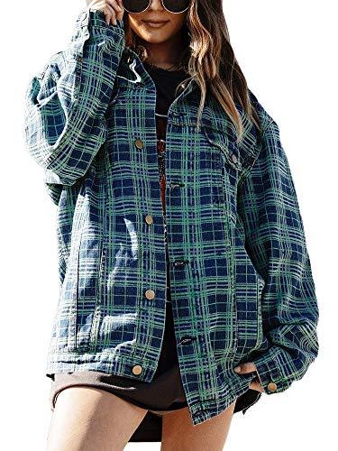 Women's Oversize Vintage Washed Boyfriend Denim Jacket Long Sleeve Classic Loose Jean Trucker Jacket (S, Teal Plaid) ()
