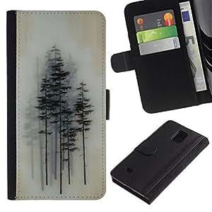 All Phone Most Case / Oferta Especial Cáscara Funda de cuero Monedero Cubierta de proteccion Caso / Wallet Case for Samsung Galaxy Note 4 IV // Trees Forest Art Painting