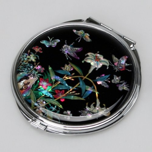 Mother of Pearl Lily Flower Design Black Compact Cosmetic Double Makeup Pocket Round Mirror, 3.2 Ounce