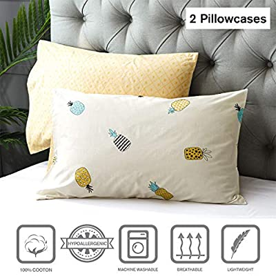 Kosa Bedding 100% Cotton Duvet Cover Set,Yellow Pineapple Pattern Printed Duvet Cover with Zipper Closure, Soft and Easy Care,Reversible Pattern Bedding Set for All Season(3pcs,Twin Size): Home & Kitchen