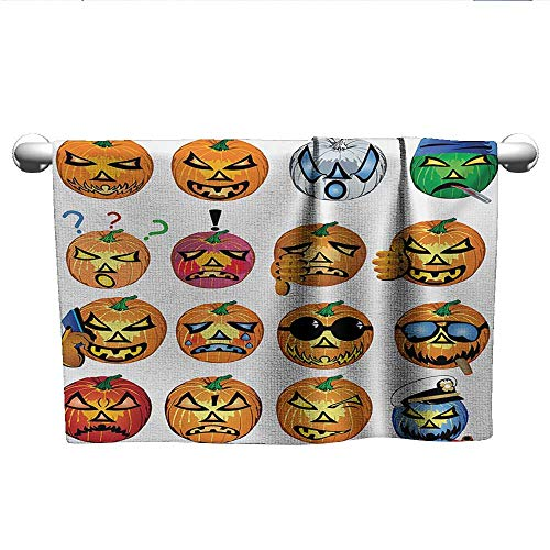 alisoso Halloween,Decorative Bathroom Towels Carved Pumpkin with Emoji Faces Halloween Inspired Humor Hipster Monsters Artwork Microfiber Towels for Body Orange W 20
