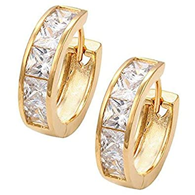 398fd1ce334e3 Huggie Hoop Earrings | 18k Yellow Gold Plated | Princess Cut Crystals