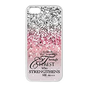 Princess Belle I Can Do All Things Through Christ Who Strengthens Me Philippians 5c:13 - Bible Verse Pink Sparkles Glitter Design TPU Rubber Case for Iphone 5c