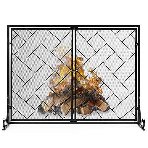 Best Choice Products 44x33in 2-Panel Handcrafted Wrought Iron Decorative Mesh Geometric Fireplace Screen, Fire Spark Guard w/Magnetic Doors