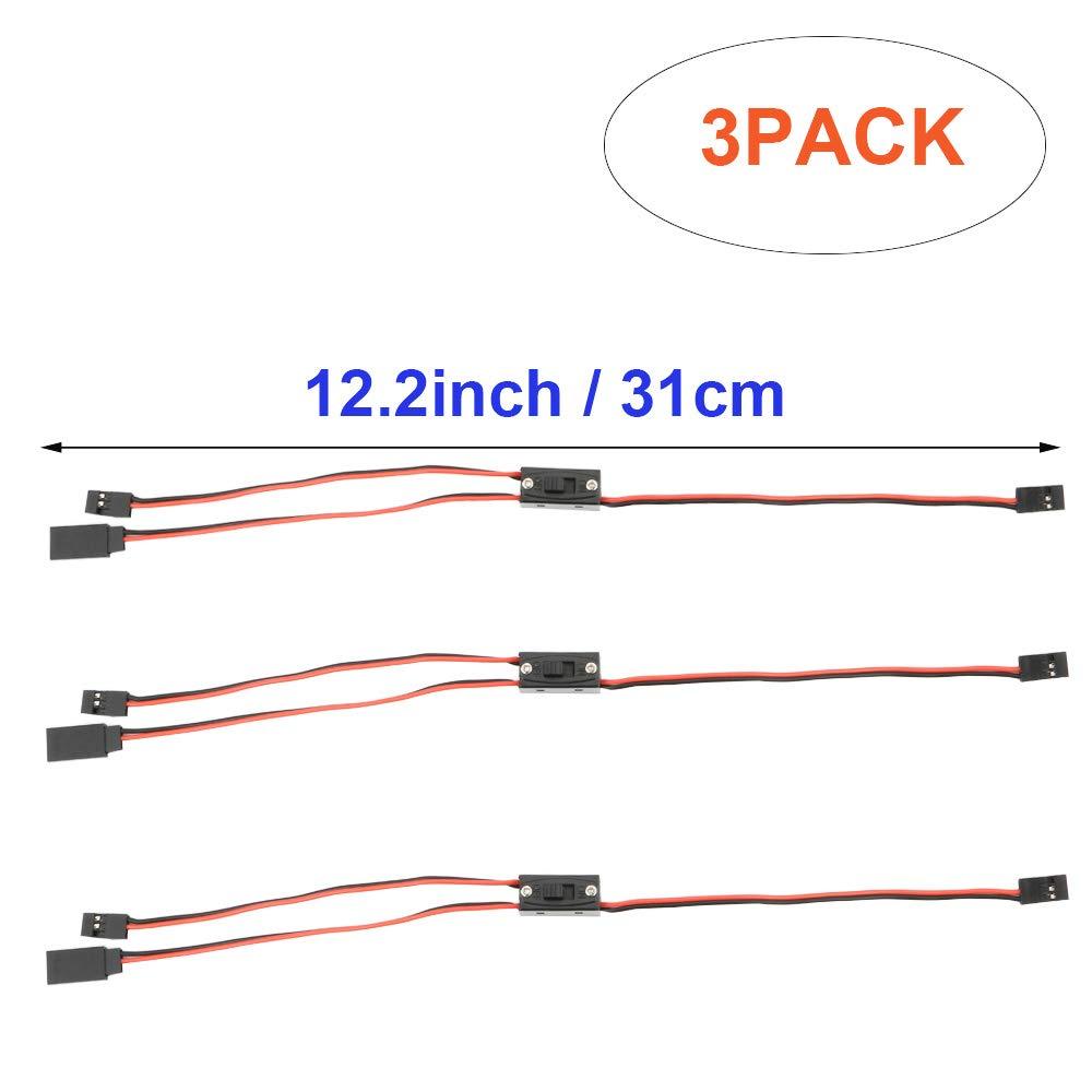 JR Connecteur Plug Faisceau C/âblage Switch pour RC Voiture Accessoires de Voiture RC On Off Battery Switch Futaba Plug 2 x Male // 1 x Female TOOHUI 3pcs RC Model Receiver