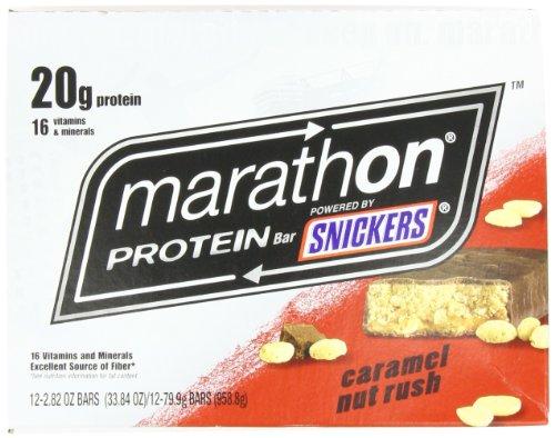 Bars Marathon High Protein Caramel et noix Rush, 2,82 oz Bars (paquet de 12)