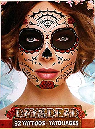 Amazon.com : Day Of The Dead Sugar Skull Temporary Face Tattoos (RED ...