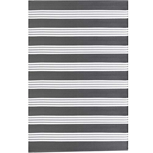 Earth Collective Recycled Easy Clean Outdoor Mat - The Original Rug - Reversible, UV Resistant, Mildew Proof, Stripe Grey & White, Great for Patio, Beach, Picnic or RV Camping. Eco Friendly 4x6