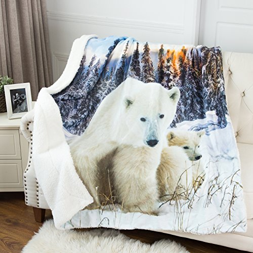 "Polar Bear Printed Throw Blanket Black & White Sherpa Throw Luxury Animal Blanket 50""x60"" Reversible Fuzzy Microfiber All Season Blanket for Bed or Couch by Bedsure"