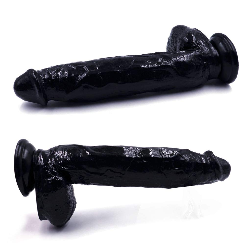 Plswg Lcscs Dildo Silicona consolador pene Anal, réplica Real de pene consolador pene Dong,Negro,30 cm 23bfe6