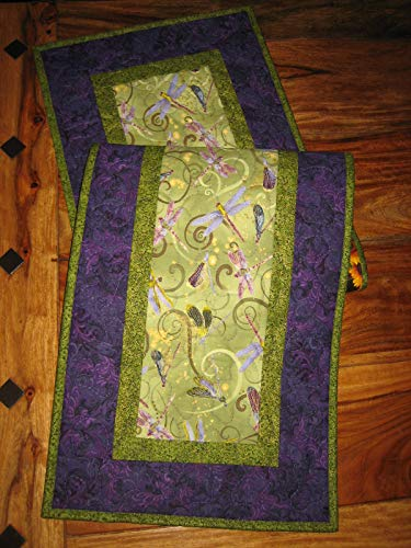 Dragonfly Table Runner, Purple Blue Green Quilted Reversible 13x48 in. from Tahoe Quilts