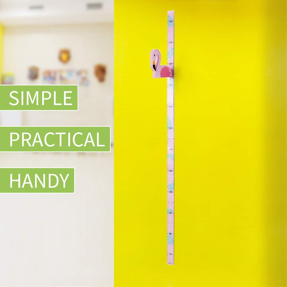 WPT 3D Growth Chart Measurement Height Ruler Portable Magnetic Removable EVA Header Flamingo Decals Children/¡/¯s Room Kindergarten