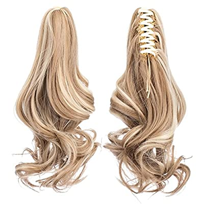SWACC Short Cute Curly Claw Clip Ponytail Extension Synthetic Clip in Ponytail Hairpiece Jaw Clip Hair Extension