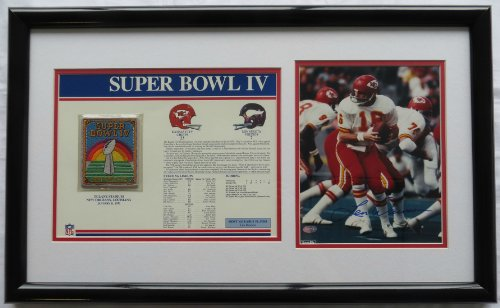 Len Dawson Signed Framed Autographed 8x10 Photo w/ SB IV Patch Mounted Memories COA Autographed 8x10 Coa Mounted Memories