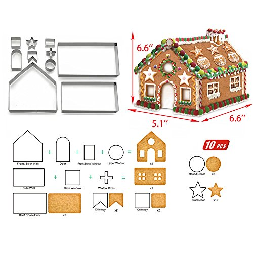 Christmas Cookie Cutters Set - 3D Christmas Cookie Cutters for Holiday Winter &Christmas Cutters Kit ,Gift Box packaging (10 Piece Gingerbread House Cookie Cutters) ()