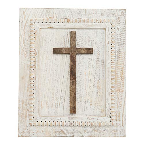 Gaines White Plaque - Mud Pie Beaded Wood Wall Rectangle Cross Plaque White