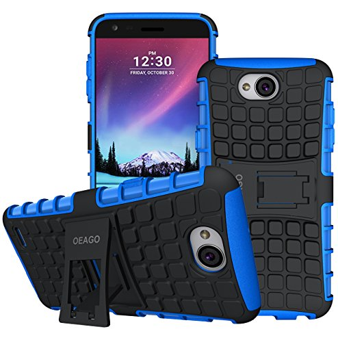 LG X Charge Case, LG Fiesta 2 LTE Phone Case, LG Fiesta LTE Case, LG X Power 2 (2017) Case, OEAGO [Shockproof] [Impact Protection] Tough Rugged Dual Layer Protective Case with Kickstand - Blue