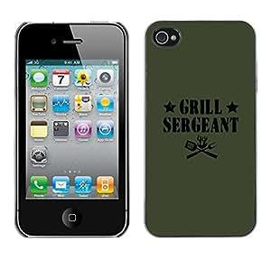 GOODTHINGS Funda Imagen Diseño Carcasa Tapa Trasera Negro Cover Skin Case para Apple Iphone 4 / 4S - cita sargento parrilla divertida comida etiqueta