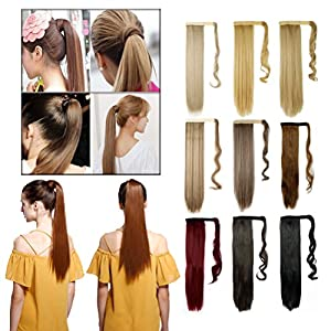 23-26 Inch Straight 17-24'' Curly Wavy Wrap Around Ponytail Hair Extension Clip in One Piece Synthetic Hairpiece for Women Black Brown Blonde Red Ombre