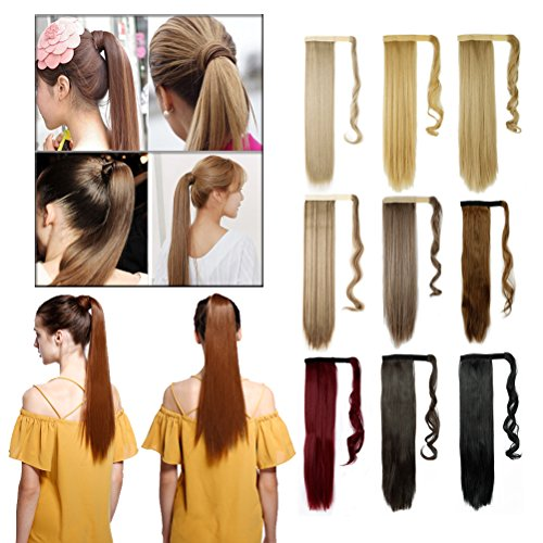 23-26 Inch Straight 17-24'' Curly Wavy Wrap Around Ponytail Hair Extension Clip in One Piece SyntheticHairpiece for Women Black Brown Blonde Red Ombre