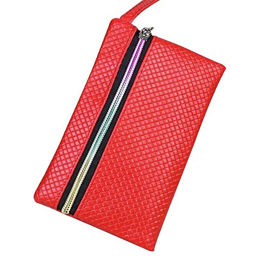 1X New Lady Zipper Candy Color Coin Purse Faux Leather Purse Clutch Coin Wallet (Color - Red)
