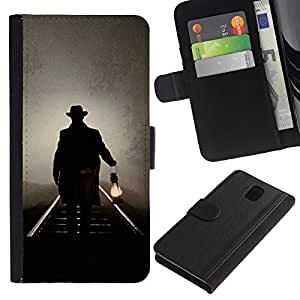 For Samsung Galaxy Note 3 III Case , Lantern Oil Light Night Mysterious - la tarjeta de Crédito Slots PU Funda de cuero Monedero caso cubierta de piel