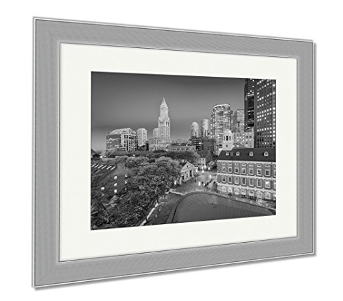 Ashley Framed Prints Boston Massachusetts USA Downtown Cityscape, Wall Art Home Decoration, Black/White, 34x40 (frame size), Silver Frame, - Faneuil Hall Location