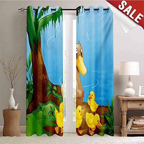 Hengshu Kids Window Curtain Fabric Illustration of Cute Duck and Her Ducklings at Riverbank Tree and Grass Cartoon Style Drapes for Living Room W84 x L96 Inch Multicolor ()