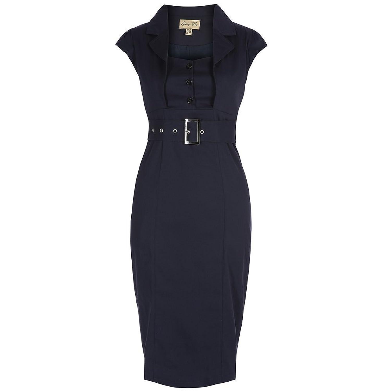 Lindy Bop 'Wynona' Navy Wiggle Dress