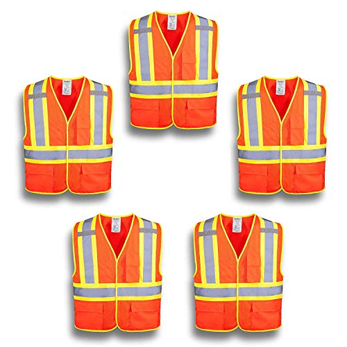 XSHIELD XS0100,High Visibility Safety Vest with Silver Stripe,ANSI/ISEA 107-2015 Type R Class2 Not FR,Pack of 5 (L, Orange) (Type 2 Vest)