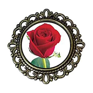 Chicforest Ancient Style Red Rose Flower Pin Brooch