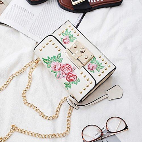 de Mujer Crossbody Correa cuero blanco Bolsos Bolsas mensajero Bolsos Rose de bandolera para bordado jóvenes flores hombro chica Nueva de Bordados KOLY Bolsas cadena remache bandolera de WfxZZ8awpq