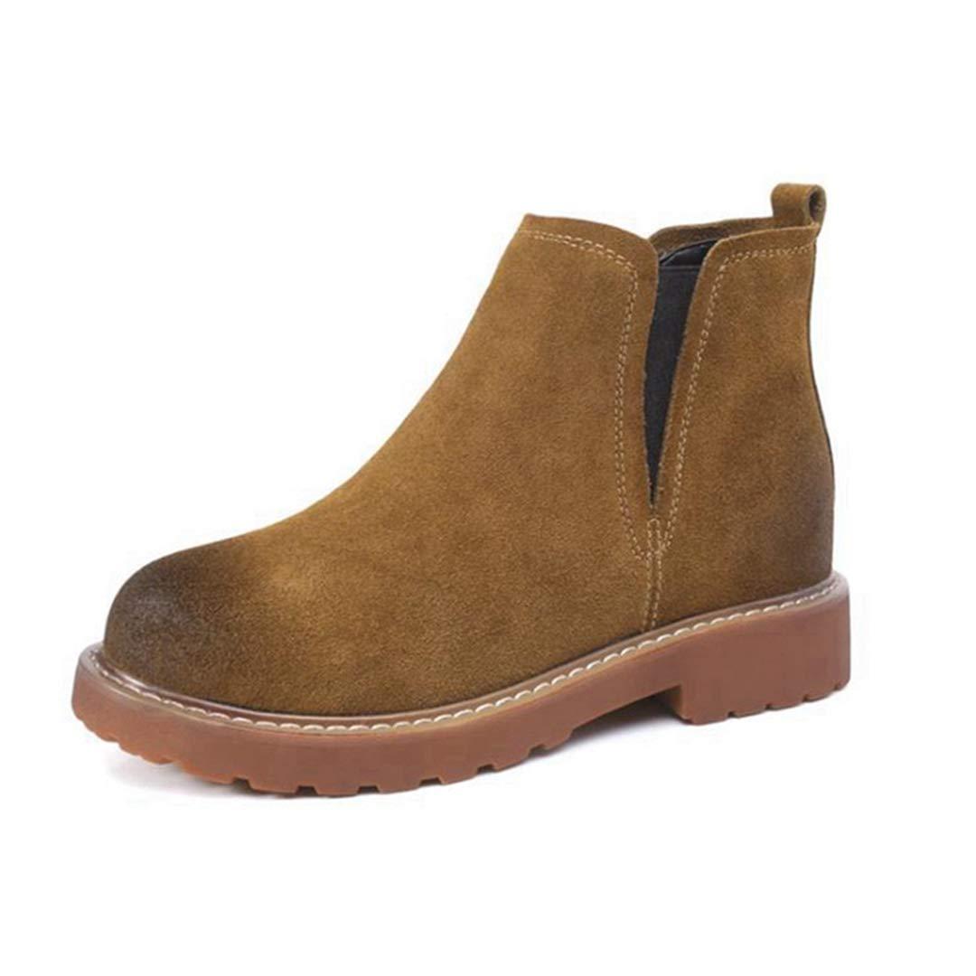 Damenstiefeletten Fashion Bottom Erhöhte runde Zehe Komfortable Slip-on-Short-Stiefel  | Attraktives Aussehen  | Innovation