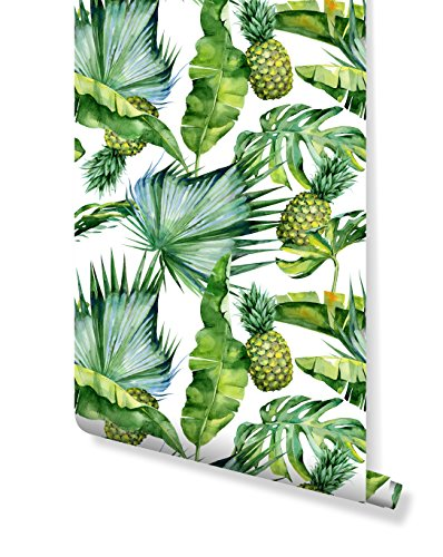 CostaCoverWallpaper with Tropical Leaves and Pineapple Pattern Green and White CC044 (24'' x 96'')