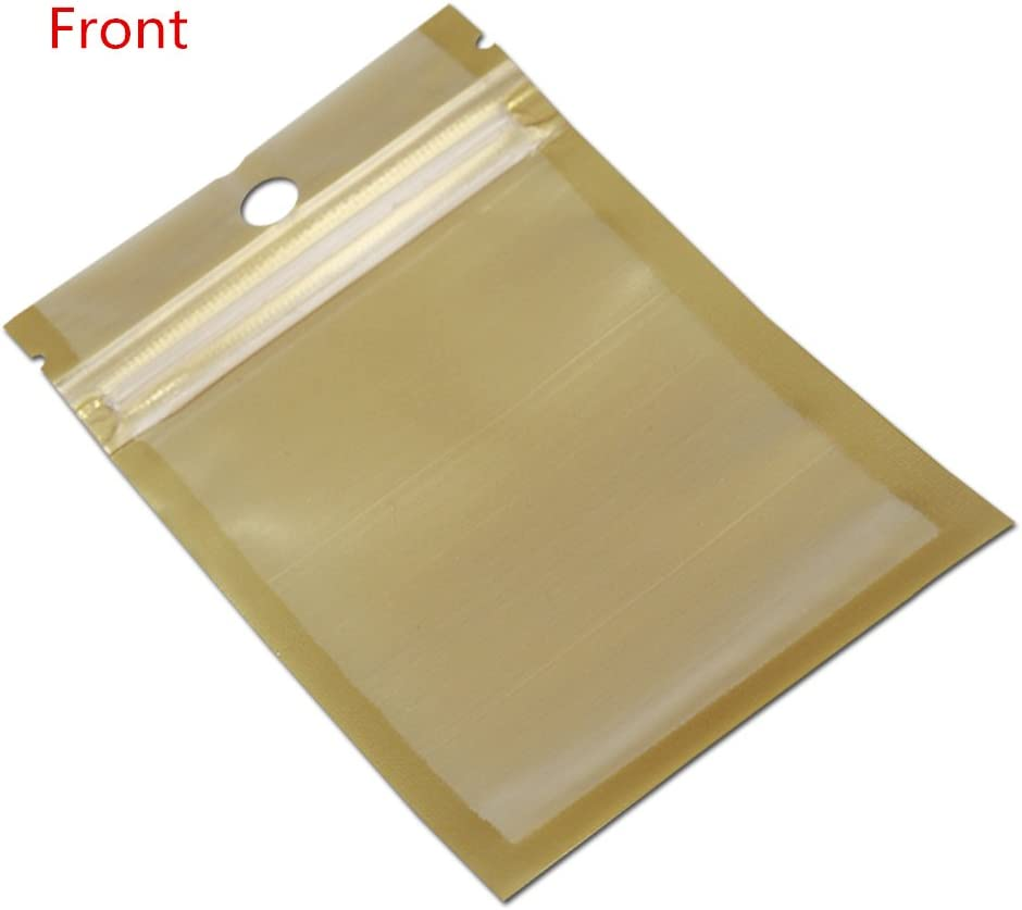250 Pieces Small Golden//Clear Self Seal Zipper Plastic Retail Jewelry Packaging Pack Bag Zip Lock Storage Bag Package With Hang Hole inner size 2.56x3.35 2.95x4.72