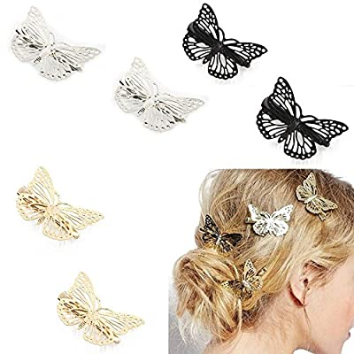 Fireboomoon Pack of 6 Hollow Metal Butterfly Hair Clip Clamps Hairpin Hair Accessories ?Gold, Sliver, Black?